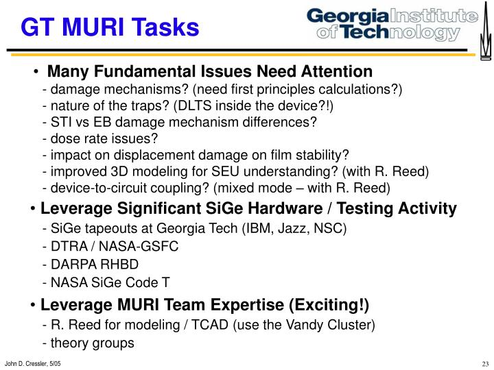 GT MURI Tasks