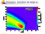 emission function at large p t