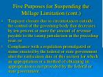 five purposes for suspending the millage limitation cont