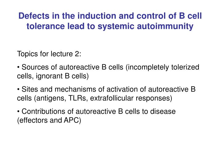 Defects in the induction and control of B cell tolerance lead to systemic autoimmunity
