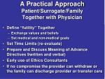 a practical approach patient surrogate family together with physician