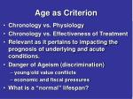 age as criterion
