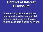 conflict of interest disclosure