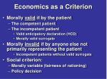 economics as a criterion