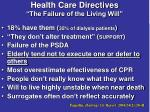 health care directives the failure of the living will