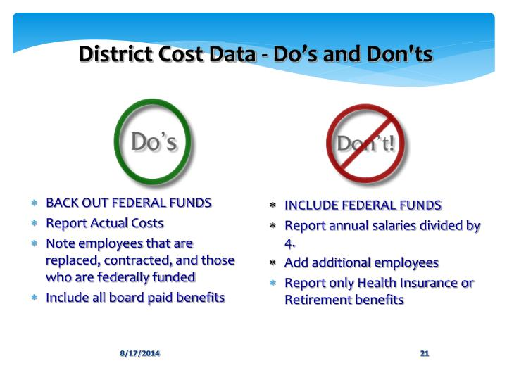 District Cost Data - Do's and Don'ts