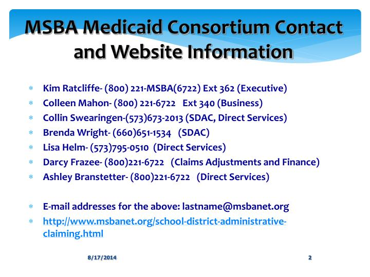 Msba medicaid consortium contact and website information