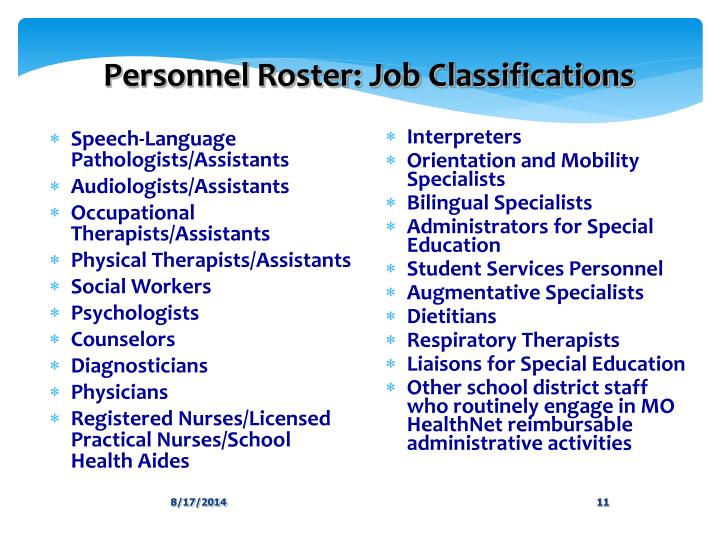Personnel Roster: Job Classifications