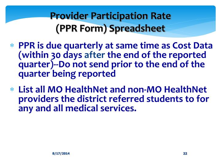 Provider Participation Rate