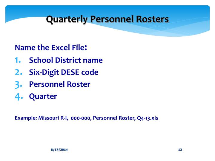 Quarterly Personnel Rosters