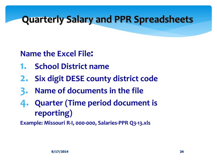 Quarterly Salary and PPR Spreadsheets