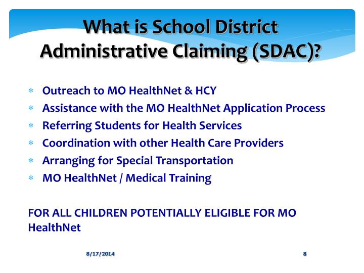 What is School District Administrative Claiming (SDAC)?