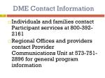 dme contact information