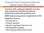 personal care consumer directed model state plan cds