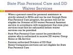 state plan personal care and dd waiver services