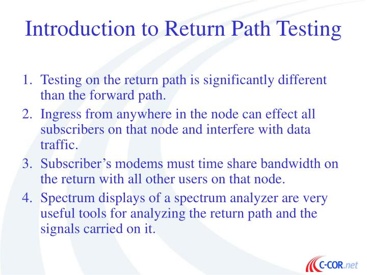 Introduction to Return Path Testing