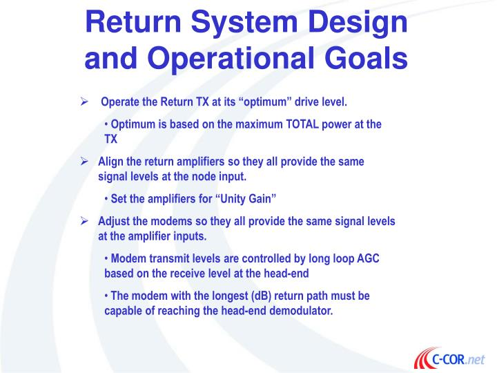 Return System Design and Operational Goals