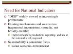 need for national indicators