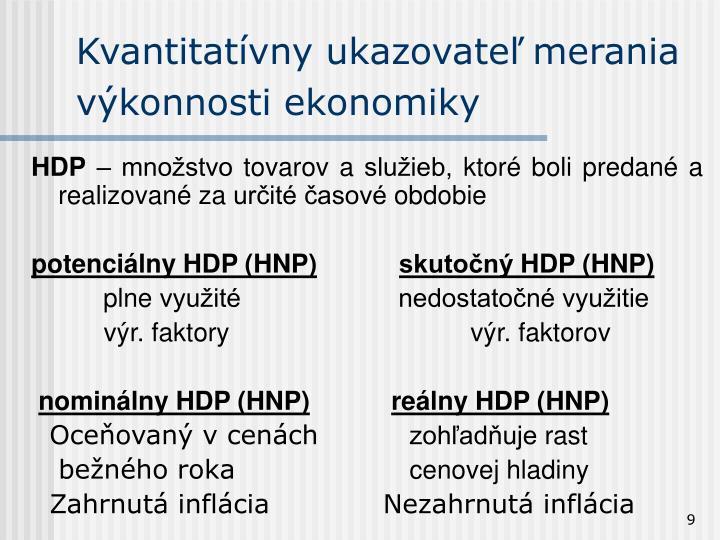 Kvantitatívny ukazovateľ merania výkonnosti ekonomiky