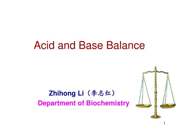acid and base balance n.