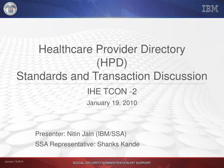 healthcare provider directory hpd standards and transaction discussion n.