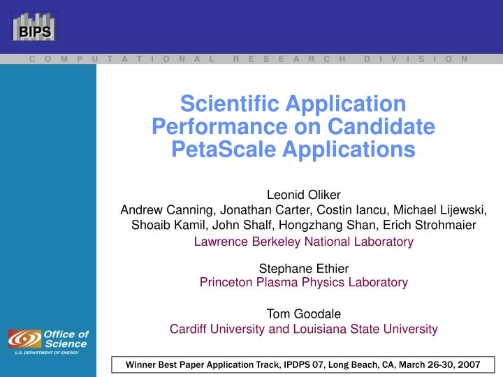 scientific application performance on candidate petascale applications n.