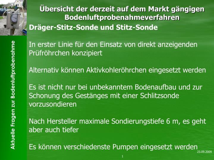 bersicht der derzeit auf dem markt g ngigen bodenluftprobenahmeverfahren n.