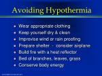 avoiding hypothermia