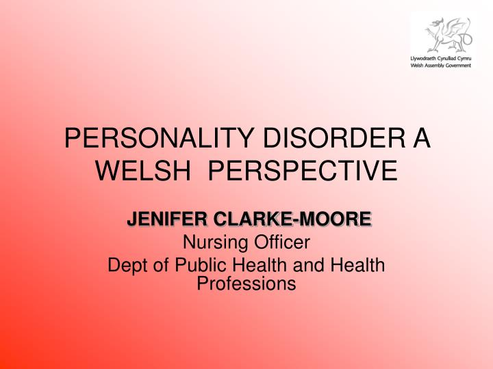 personality disorder a welsh perspective n.