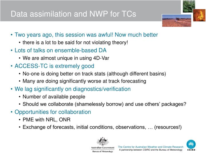 Data assimilation and NWP for TCs