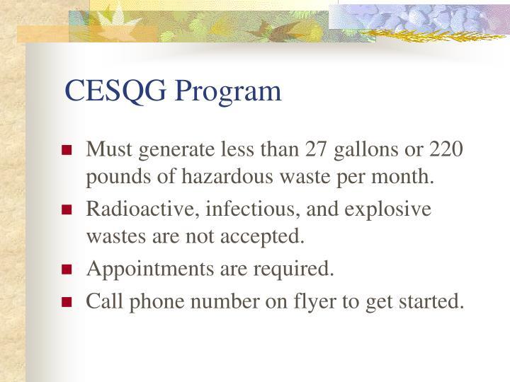 CESQG Program