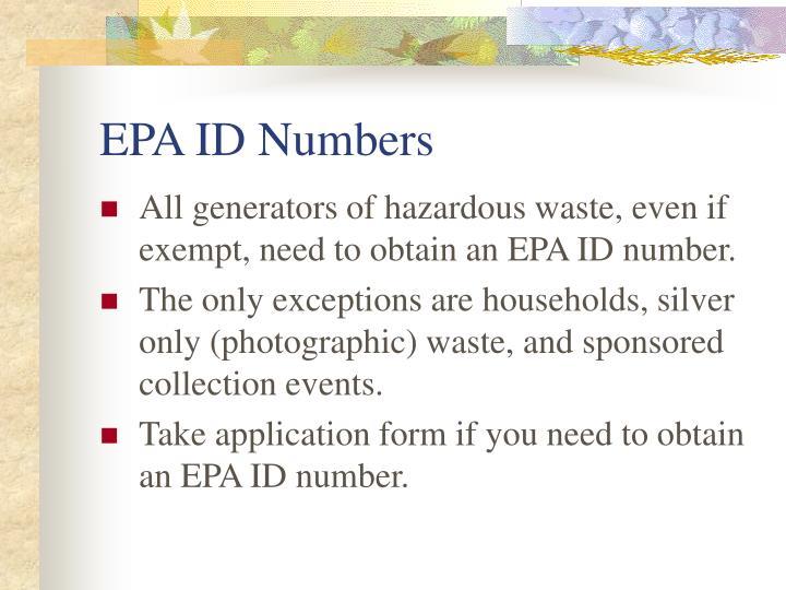 EPA ID Numbers