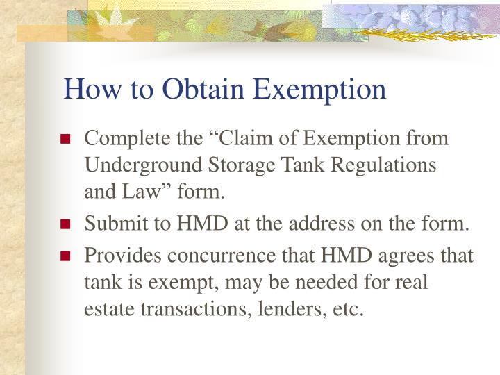 How to Obtain Exemption