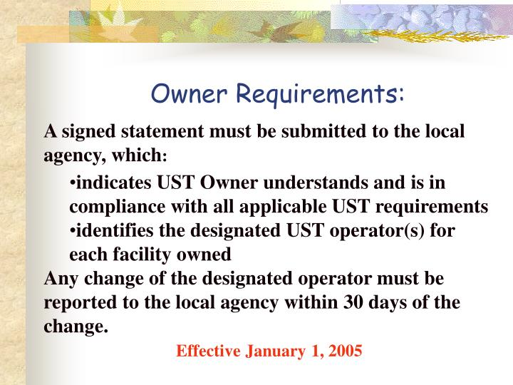 Owner Requirements: