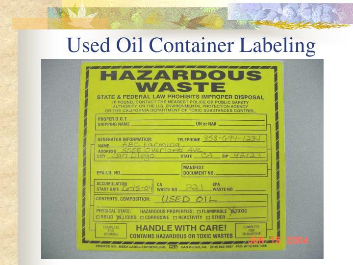 Used Oil Container Labeling