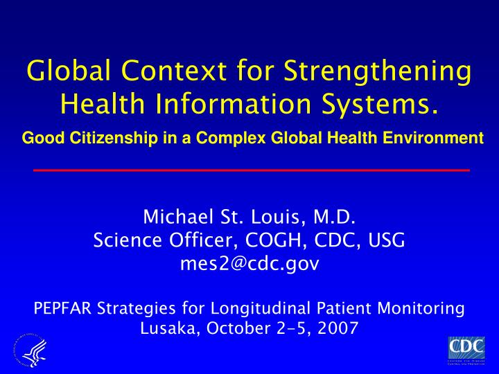 global context for strengthening health information systems n.
