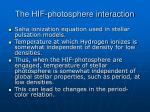 the hif photosphere interaction1