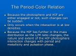 the period color relation