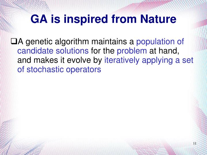 GA is inspired from Nature