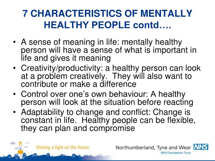 what are characteristics of a healthy person