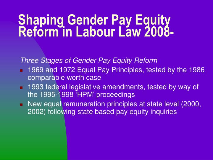 Shaping gender pay equity reform in labour law 2008