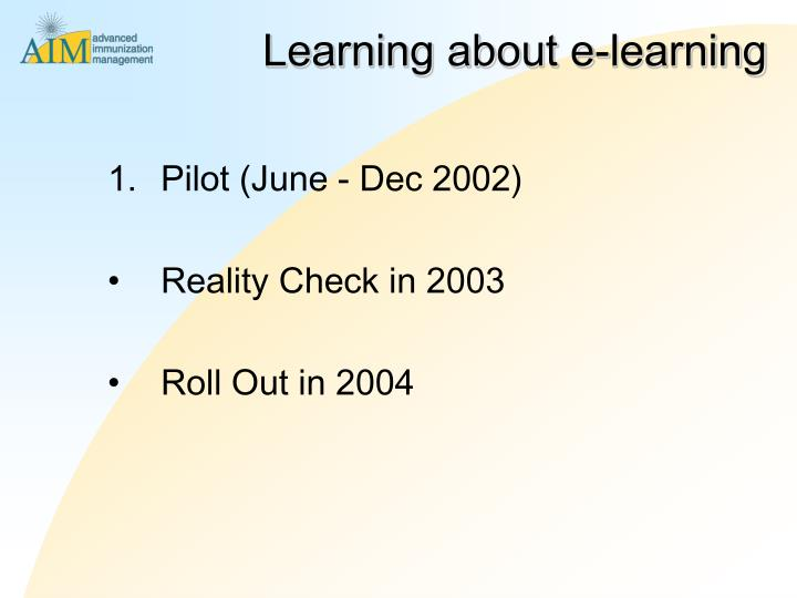 Learning about e-learning