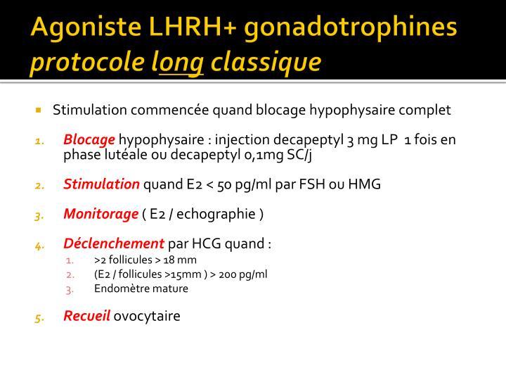 Agoniste LHRH+ gonadotrophines