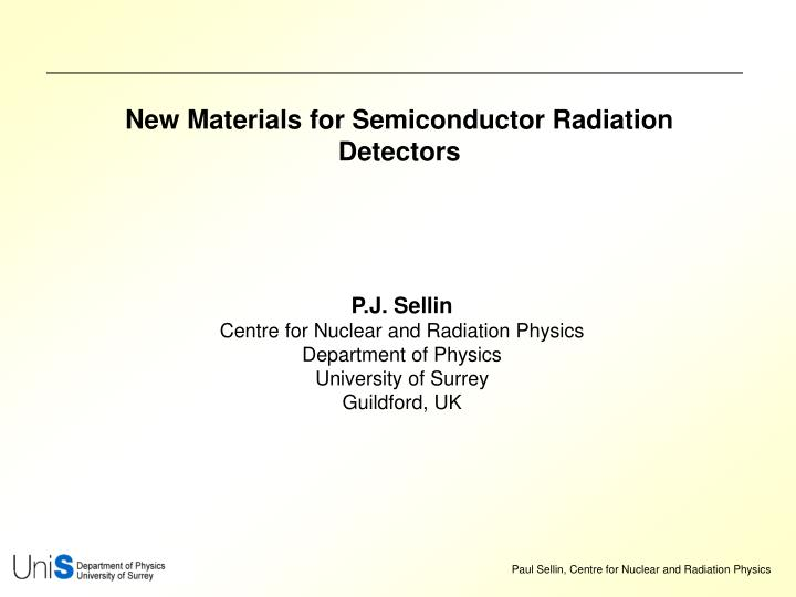 new materials for semiconductor radiation detectors