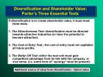 diversification and shareholder value porter s three essential tests