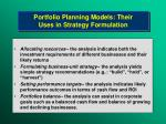 portfolio planning models their uses in strategy formulation