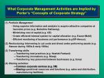 what corporate management activities are implied by porter s concepts of corporate strategy