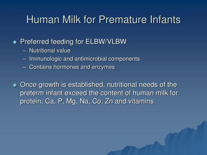 Human Milk for Premature Infants