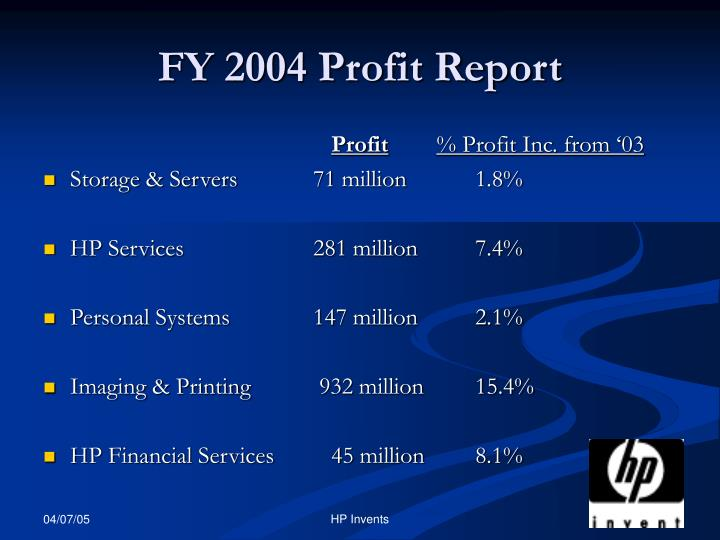 FY 2004 Profit Report
