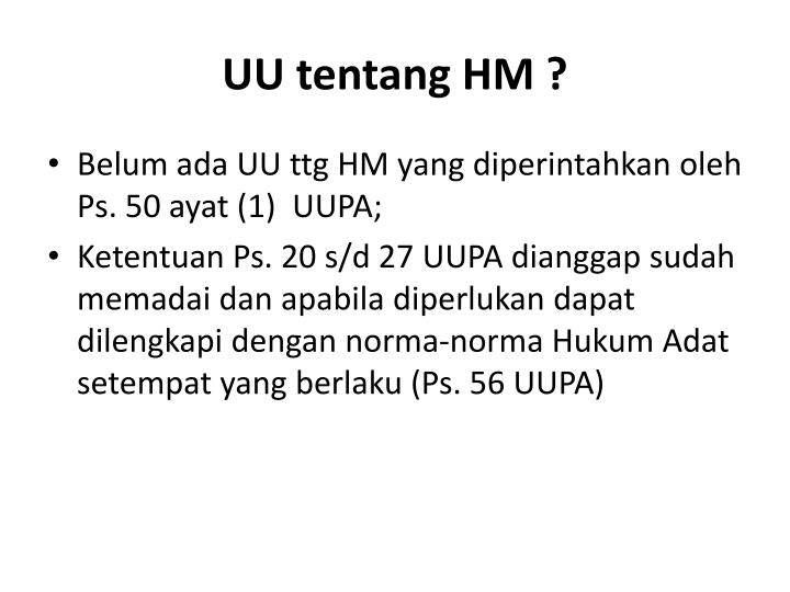 UU tentang HM ?